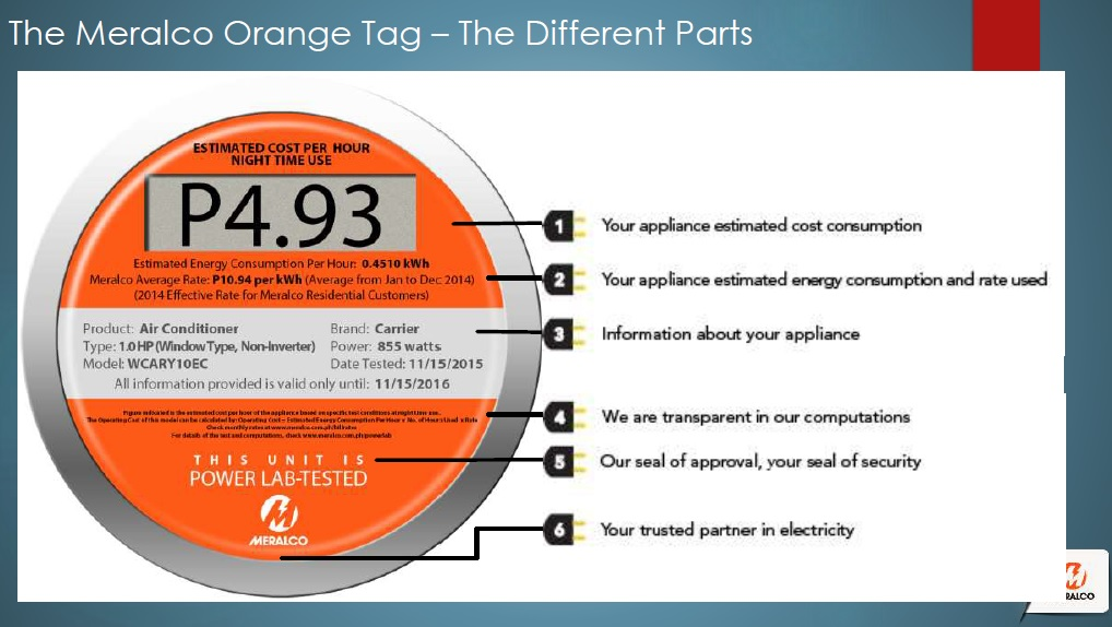 Check out the meralco orange tags for 1 ton window ac power consumption per hour
